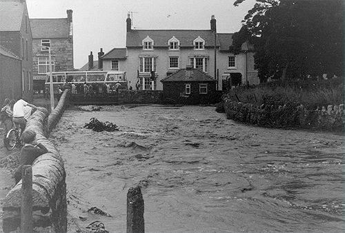 Looking north along the River Gele towards the Pen y Bont pub during the 1971 Abergele Floods. Photo copyright John Emrys Williams